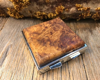Wood/ Wooden Pill box/ Keepsake container: Spalted Maple Burl, 4 day partitions.