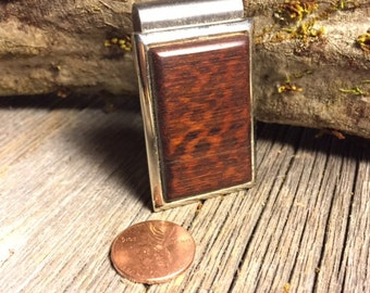 Wood/ Wooden Money Clip: Snakewood (Chromed Steel)