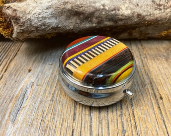 """Wood/ Wooden Pill box/ Keepsake container,"""" Kunterbunt"""": Multiple natural and colored woods , 3partitions, 1 compartment"""
