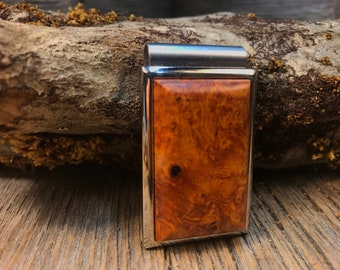 Wood/ Wooden Money clip: Madrone Burl