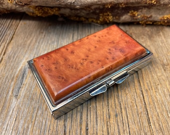7 partitions,1 compartment Wood Wooden Pill box Keepsake container Highly aromatic Morrocan Thuya Burl