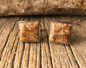 Wood/ Wooden French Cufflink:  AAAA Gallery Grade Spalted Maple Burl, square, 16/18mm