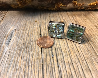 French Cufflink: Heart cut Mexican Abalone, 16/18mm, square