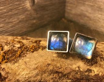 French Cufflinks: AAAAA Gallery grade Blue Fire Labradorite, 16/18mm, square