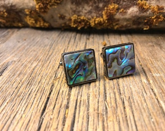 French Cufflink: Intense Blue Green Paua Abalone, 16/18mm, square