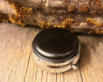 Wood/ Wooden Pill/ Keepsake container: Gaboon Ebony