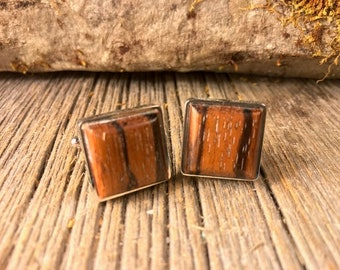 Wood/ Wooden French Cufflinks: AAAAA  Gallery Grade Rio Palisander Rosewood, square, 16/18 mm