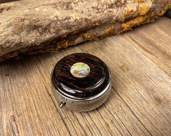 Wood/ Wooden Pill box/ case: Black Palm, 3 Compartments, 1 Compartment