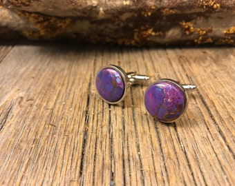 French cufflinks: Purple Copper Turquoise, 16 mm , round