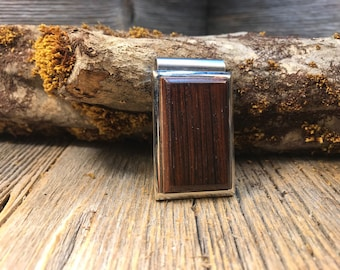 Wood/Wooden Money clip: Coco Bolo ( Chromed Steel)
