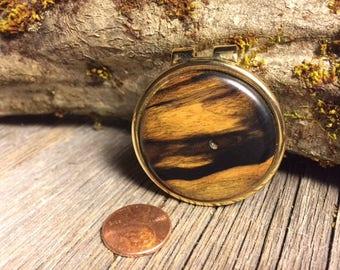 Wood/ Wooden Money clip: Black and White Ebony