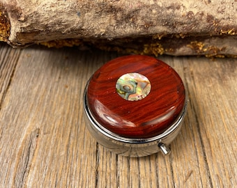 Wood/ Wooden Pill box, keepsake case: Mexican Coco Bolo, 3 Compartments, 1 Compartment