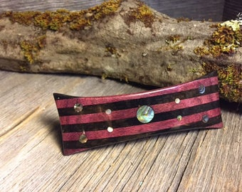 Wood/ Wooden Hair Barrette: Gaboon Ebony, Purple Heart, Abalone (Large)