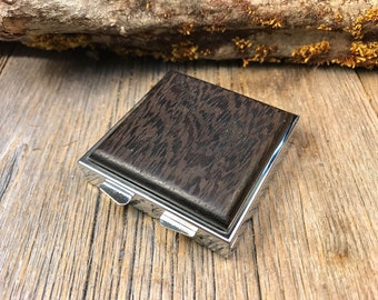 Wood/ Wooden Pill Box/ Keepsake container: AAAA Wenge , 4 partitions, 1 compartment