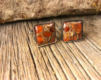 French Cufflinks: Carnelian Copper Mohave, 16/18 mm, square