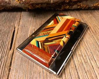 Wood/Wooden Business Card/ Credit Card case/ Holder: Kunterbunt, Multiple natural and colored woods
