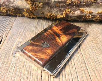 Wood/ Wooden Credit Card/Business Card case/ holder: AAAAA Gallery grade Old Growth Hawaiian Curly Koa Crotch wood