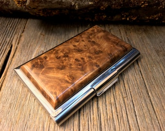 Wood/ Wooden Business /credit card case/holder: Highly aromatic AAAAA Gallery grade Morrocan Thuja Burl