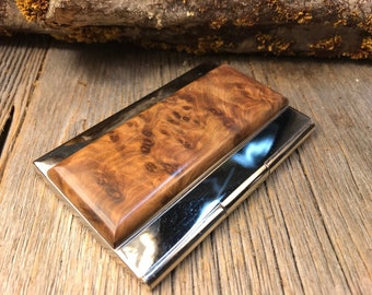 Wood/ Wooden Business /credit card case/holder: Highly aromatic Gallery Grade AAAAA Morrocan Thuja Burl