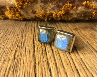 French Cufflinks: Blue Fire Labradorite, 14/17mm, square