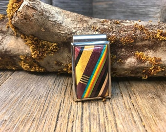 Wood/Woodenn Moneyclip/Billfold: Natural exotic and colored Woods
