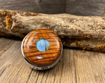 Wood/ Wooden Pill box, Keepsake case: Extremely Curly Sateen, 3 Compartments, 1 Compartment