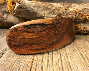 Wood/ Wooden Hairbarrette: Old growth antique Spalted Florida Mahogany ( Large)