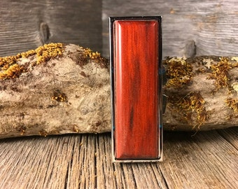 Wood/ Wooden Pill box /Keepsake container: Bloodwood, 3 partitions, 1 compartment