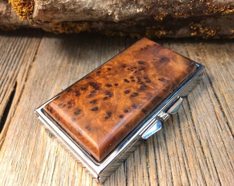 Wood/ Wooden Pill box/ Keepsake container: Highly aromatic Morrocan Thuya Burl, 7 partitions,1 compartment