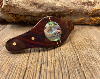 Wood/ Wooden Hair Barrette/ Hairclip: AAAAA Gallery grade Mexican Coco Bolo ( Large)