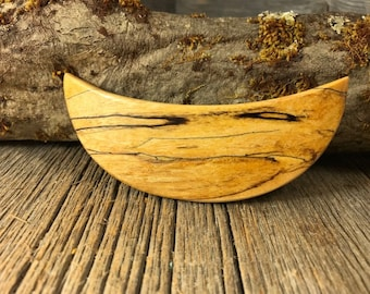 Wood/ Wooden Hair Barrette: Spalted Maple (medium)