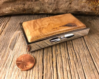 Wood/Wooden pill box, 7 day partitions: Maple Burl