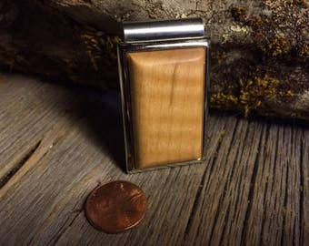 Wooden Moneyclip: Curly Maple (Chromed Steel)