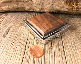 Wood/ Wooden Pill box/ Keepsake container: AAAA Claro Walnut, 4 partitions, 1 compartment