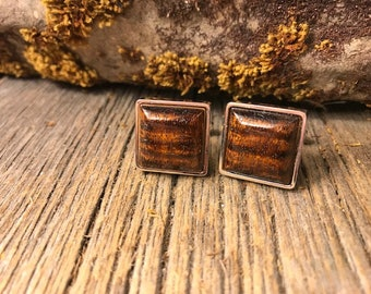 Wood/Wooden French Cufflink: AAAAA Old Growth Curly Koa, square, 16/18 mm