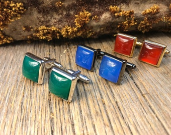 French Cufflinks: Green, Blue or Red Jade , 14/17mm, square