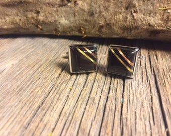 Wood/ Wooden French cufflinks: Ebony, 14/17mm, square