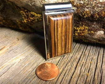 Wood/ Wooden Money clip: Zebrawood
