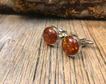 French Cufflinks: Baltic Amber, 16 mm, round