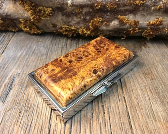 Wood/ Wooden Pill box: AAAAA Spalted Birdeye Maple Burl, 7 partitions