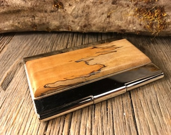 Wood/Wooden Business Card/ Credit Card case/ Holder: AAAA Gallery grade Spalted  Curly Maple