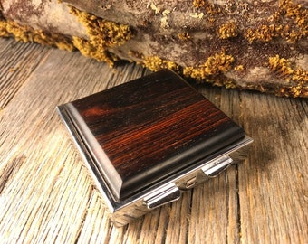 Wood/ Wooden Pill box/ Keepsake container: AAAA Coco Bolo , 4  partitions.