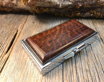 Wood/ Wooden Pill box Keepsake container: AAAAA Gallery grade Snakewood, 7 partitions, 1 compartment