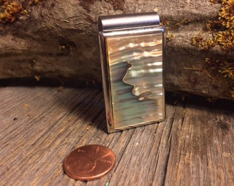Money clip: AAAA Gallery Grade Green Blue Paua Abalone ( curly cut)