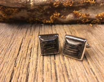 Wood/ Wooden French Cufflinks: Black Palm, square, 14/17 mm