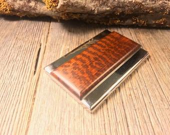 Wood/Wooden Business Card/ Credit Card case/ Holder: AAAA Gallery grade Surinam Snakewood