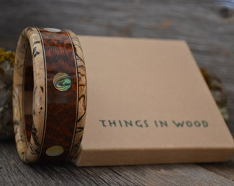 Wooden Bracelet: Snakewood, Spalted Tamarind, Abalone, Mother of Pearl