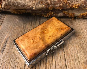 Wood/ Wooden Pill box: AAAAA Gallery Grade Maple Burl, 7 partitions