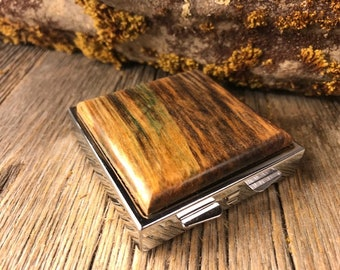 Wood/ Wooden Pill box: AAAA Gallery Grade Spalted Maple, 4 compartments