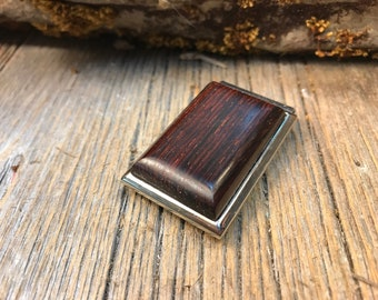 Wood/ Wooden Money clip:  Coco Bolo (Chromed Steel)